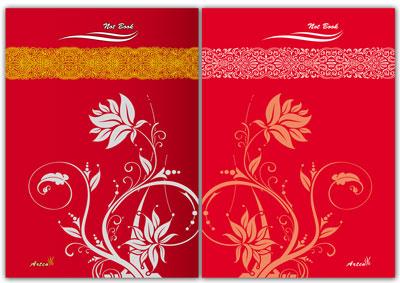 طرح لایه باز جلد دفتر شامل دو فایل (طرح گل)، طرح لایه باز جلد دفترچه یادداشت